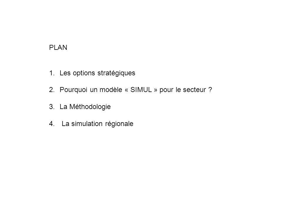 PLAN Les options stratégiques. Pourquoi un modèle « SIMUL » pour le secteur .