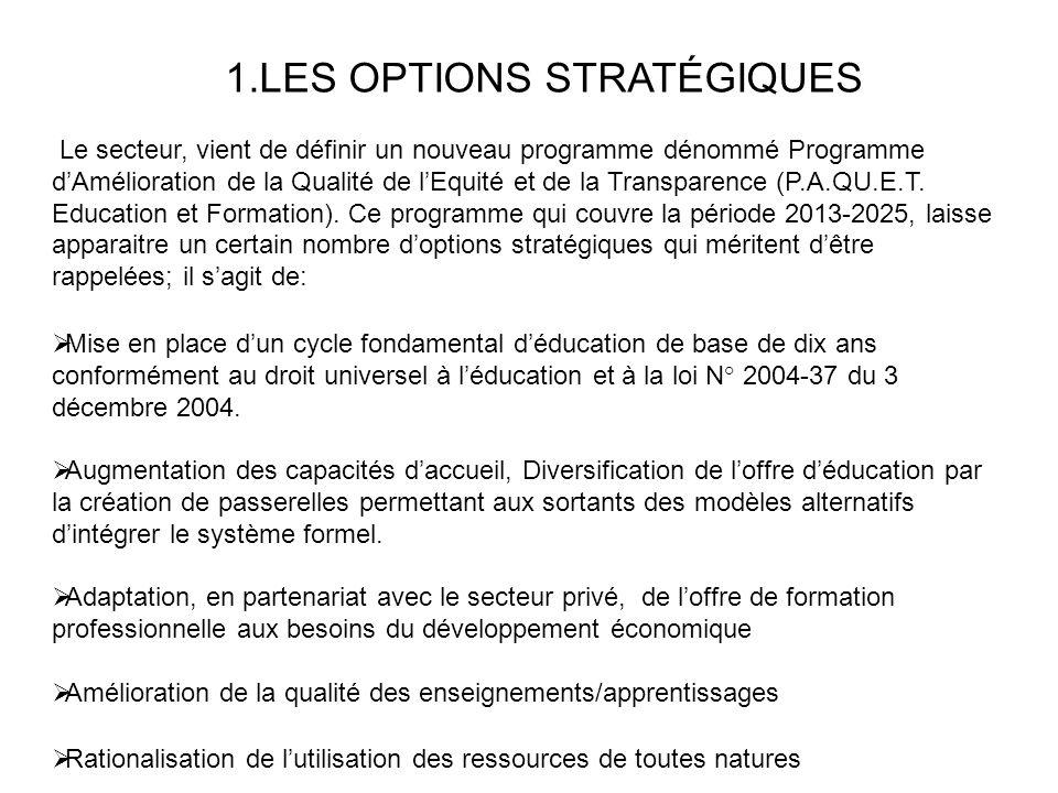 1.LES OPTIONS STRATÉGIQUES