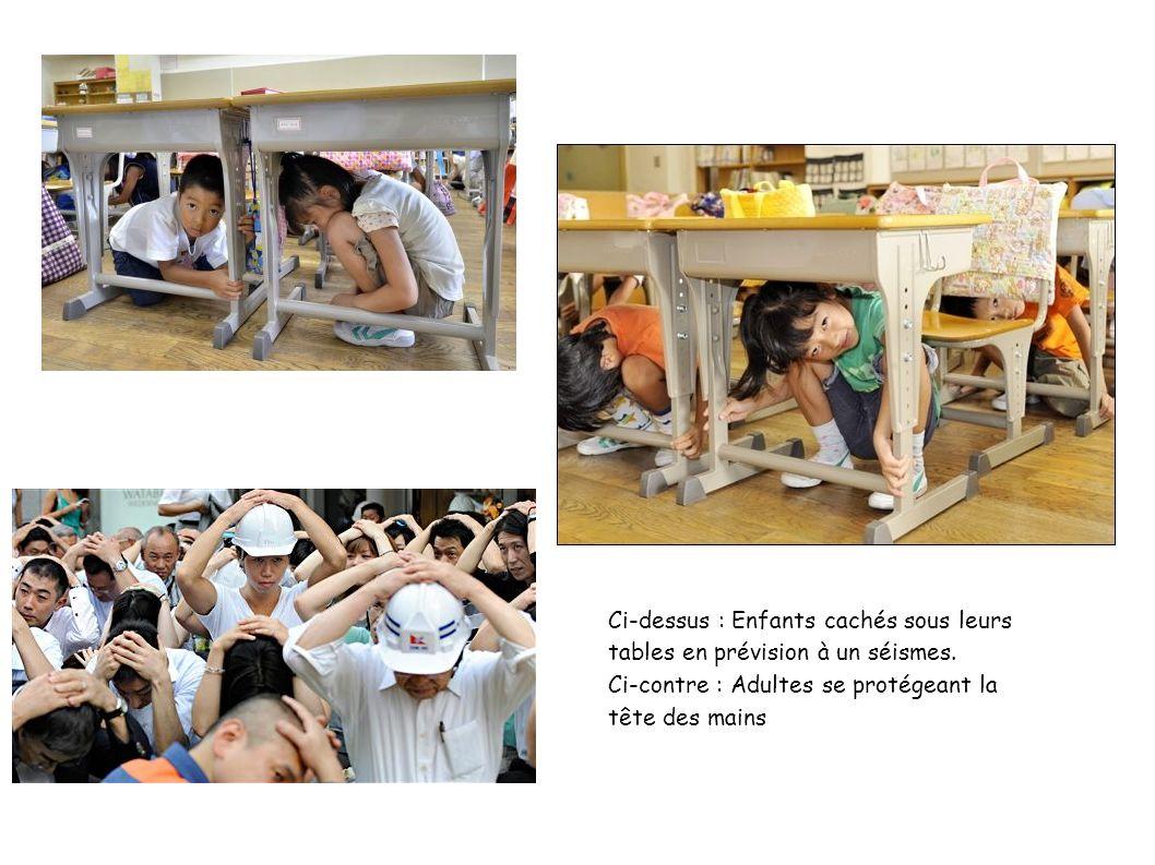 Ci-dessus : Enfants cachés sous leurs tables en prévision à un séismes.