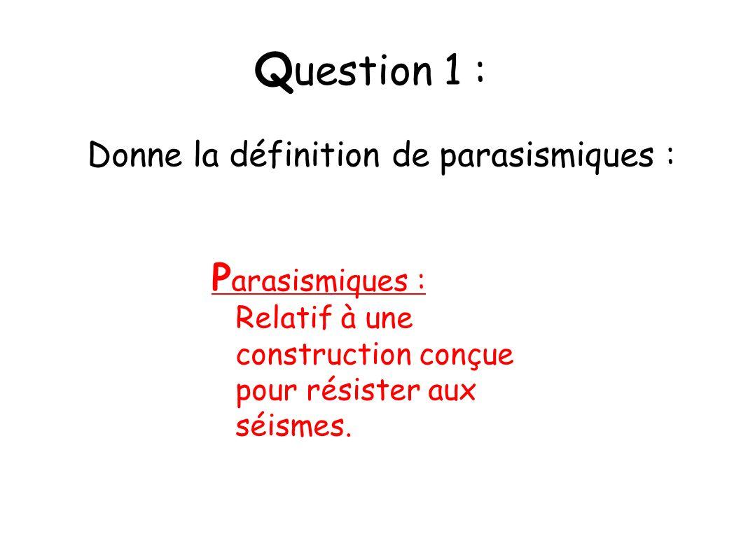Donne la définition de parasismiques :