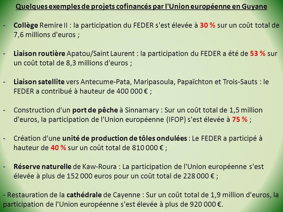 Quelques exemples de projets cofinancés par l Union européenne en Guyane