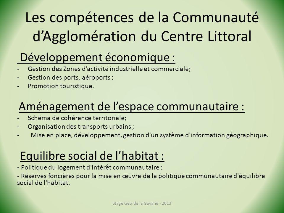 Les compétences de la Communauté d'Agglomération du Centre Littoral