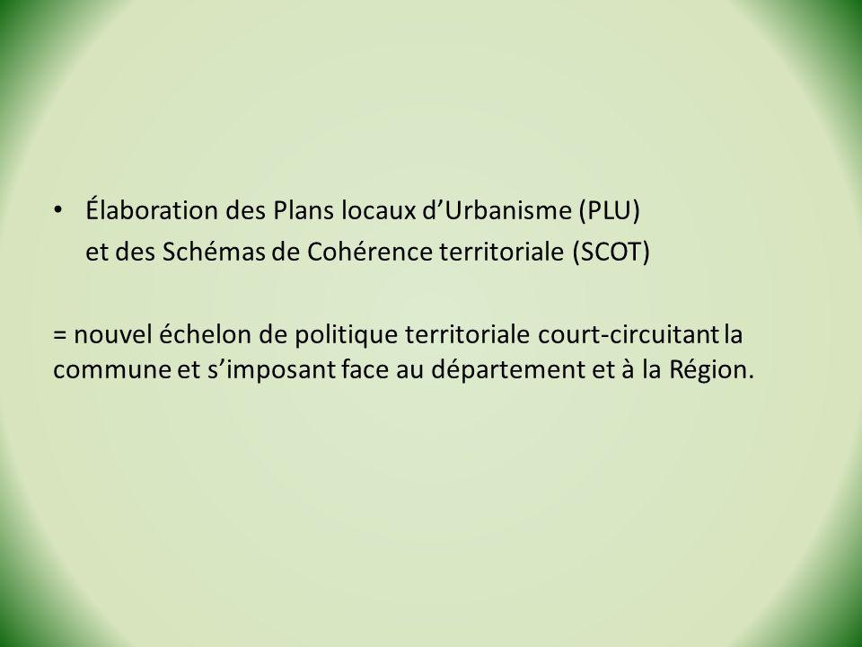 Élaboration des Plans locaux d'Urbanisme (PLU)