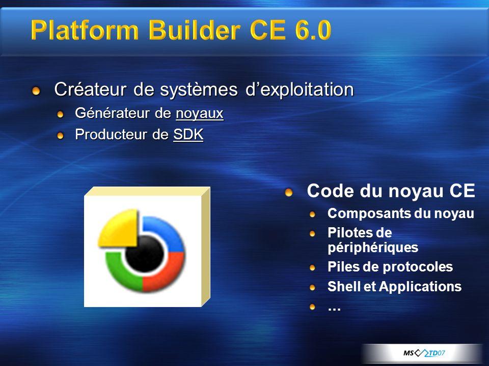 Platform Builder CE 6.0 Créateur de systèmes d'exploitation