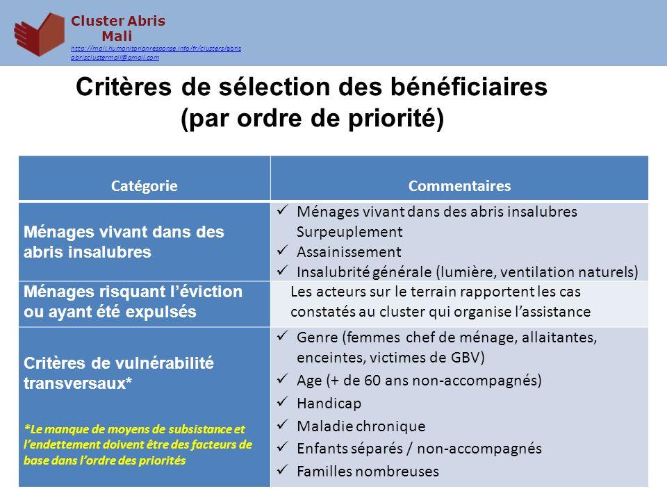 Critères de sélection des bénéficiaires (par ordre de priorité)