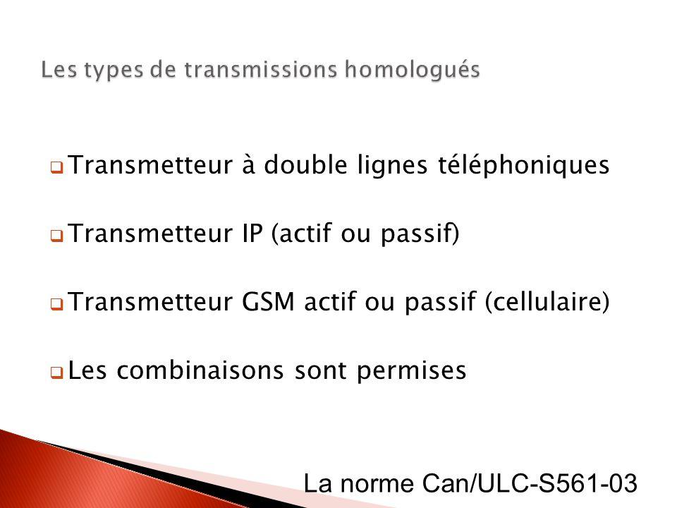 Les types de transmissions homologués