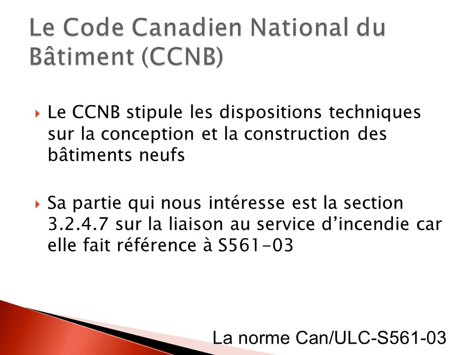 Le Code Canadien National du Bâtiment (CCNB)