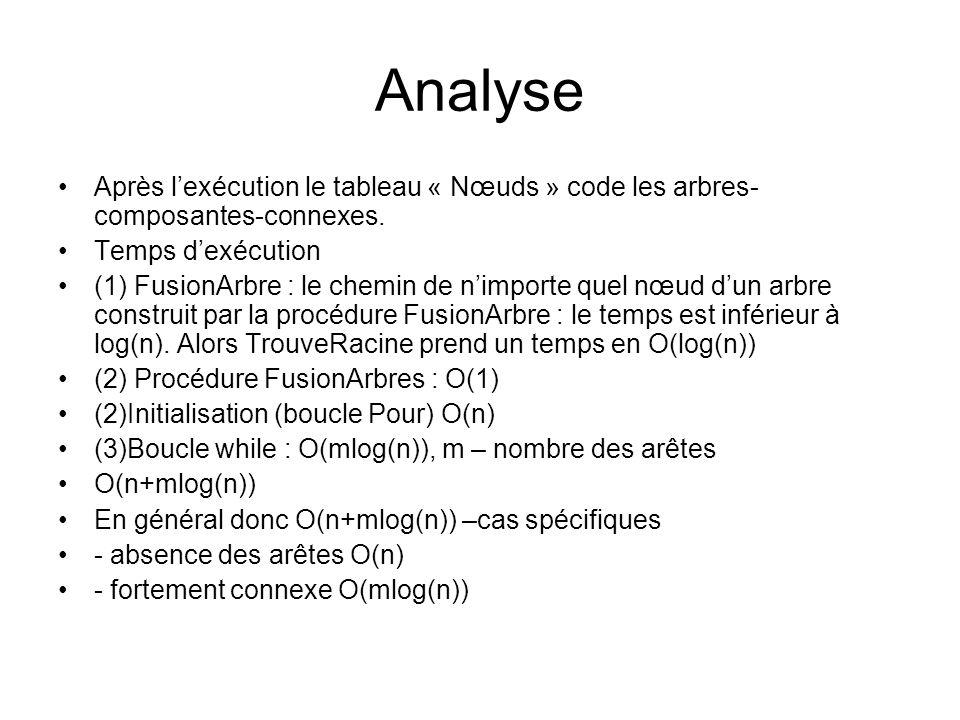 Analyse Après l'exécution le tableau « Nœuds » code les arbres-composantes-connexes. Temps d'exécution.