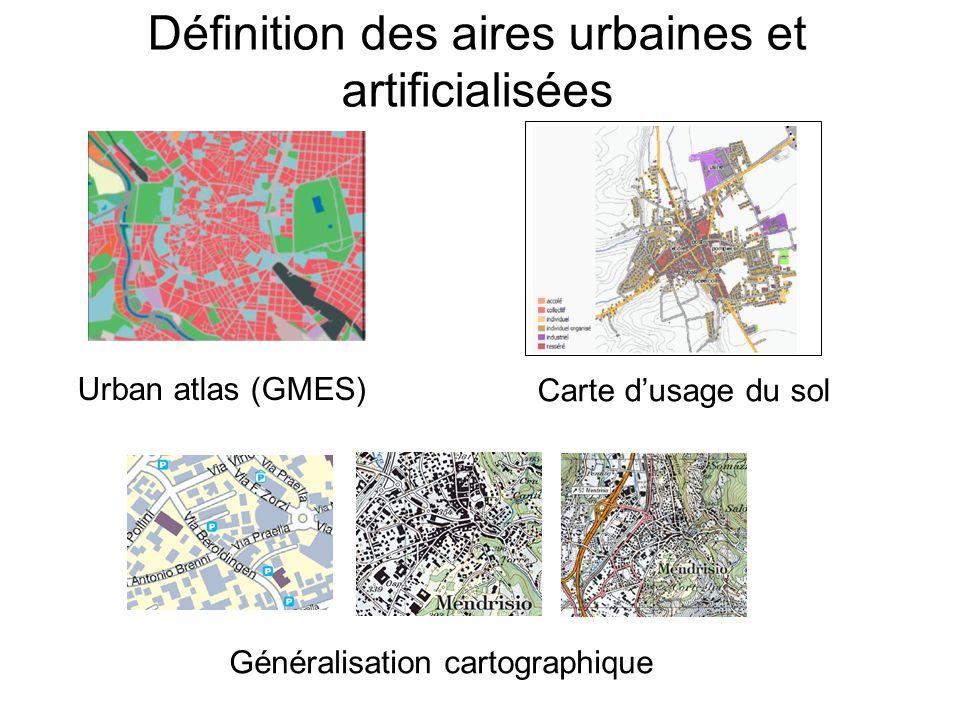 Définition des aires urbaines et artificialisées