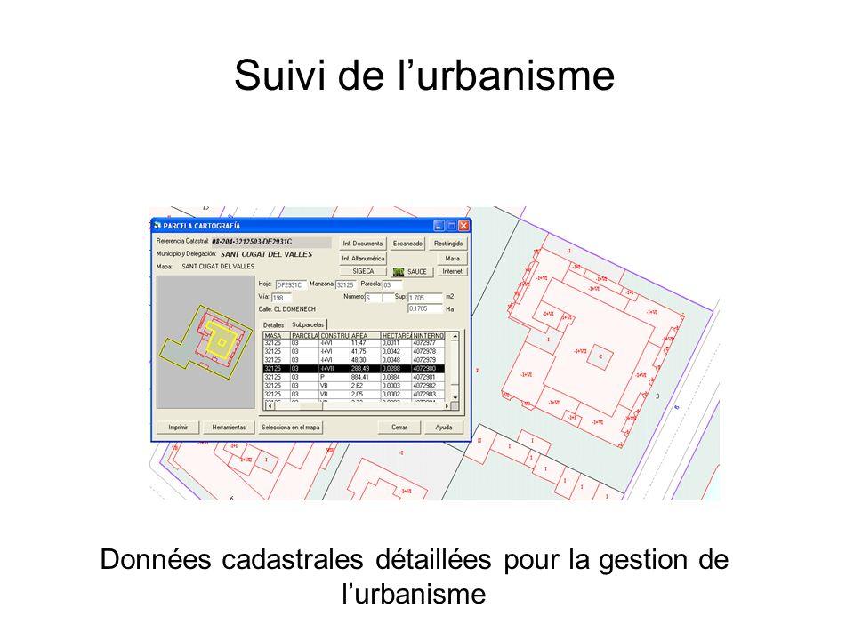 Données cadastrales détaillées pour la gestion de l'urbanisme