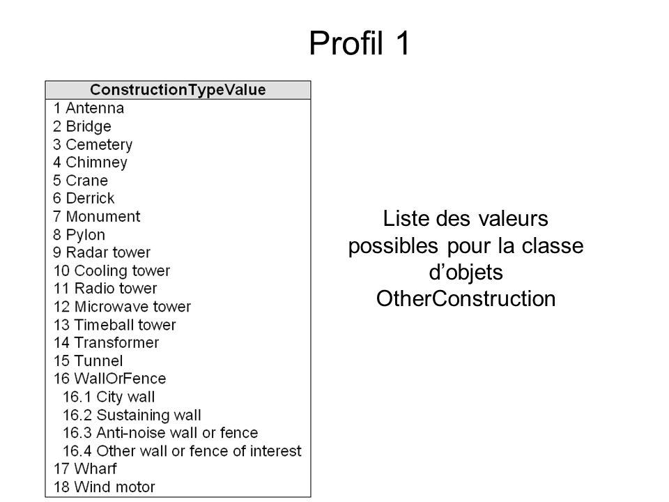 Liste des valeurs possibles pour la classe d'objets OtherConstruction