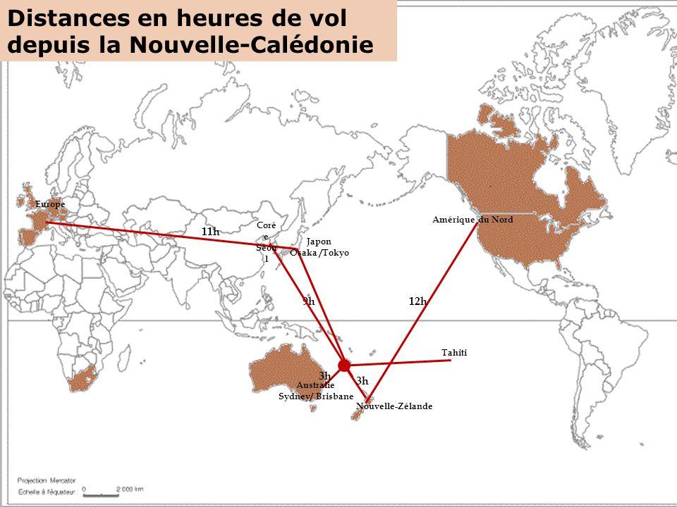 Distances en heures de vol depuis la Nouvelle-Calédonie