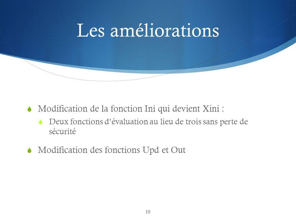 Les améliorations Modification de la fonction Ini qui devient Xini :