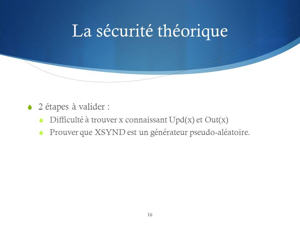 La sécurité théorique 2 étapes à valider :