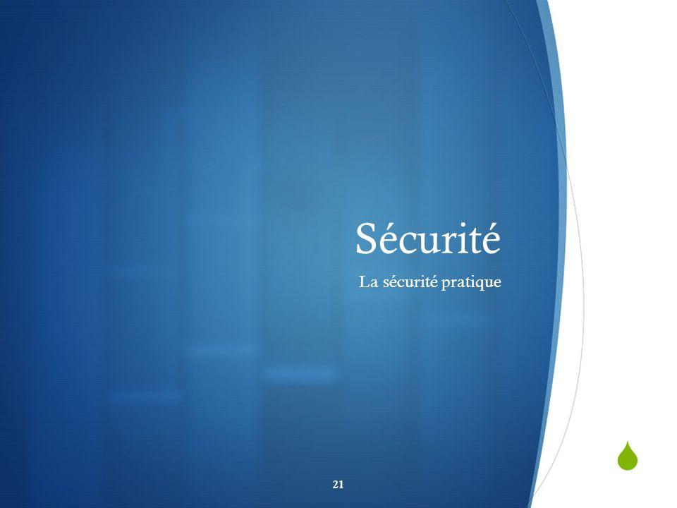 Sécurité La sécurité pratique
