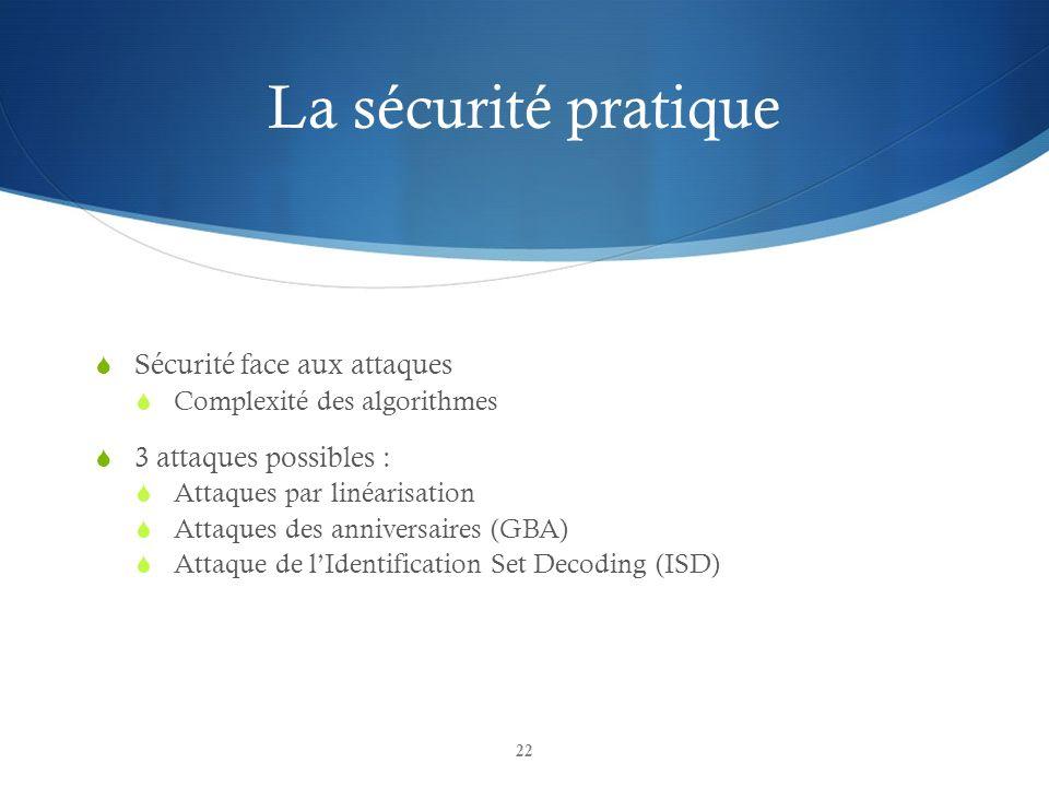 La sécurité pratique Sécurité face aux attaques 3 attaques possibles :