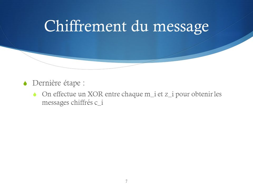 Chiffrement du message
