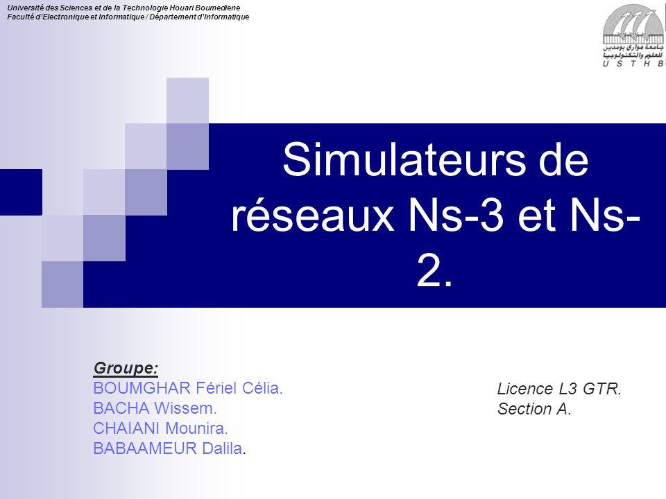 Simulateurs de réseaux Ns-3 et Ns-2.