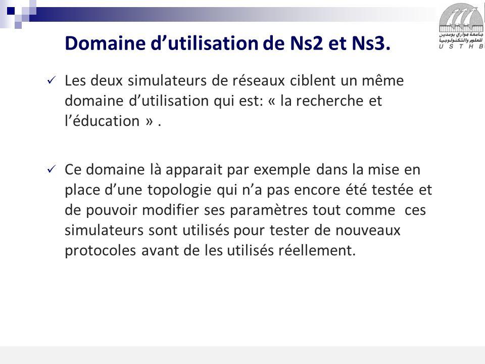 Domaine d'utilisation de Ns2 et Ns3.