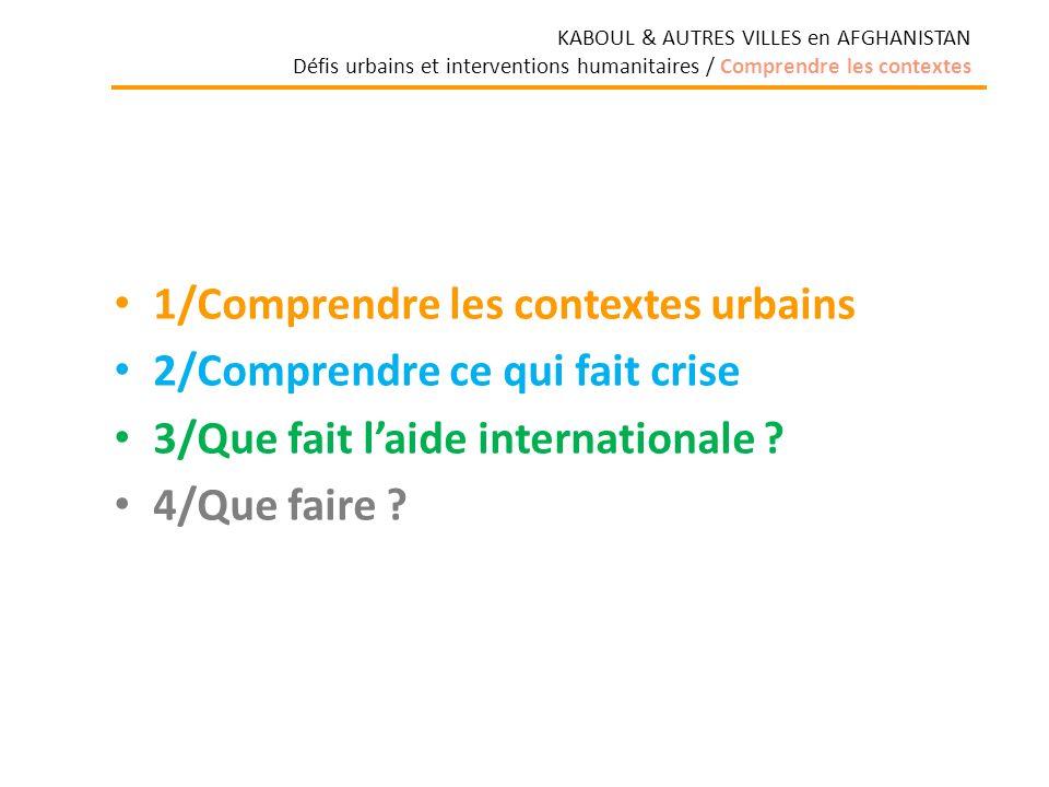 1/Comprendre les contextes urbains 2/Comprendre ce qui fait crise