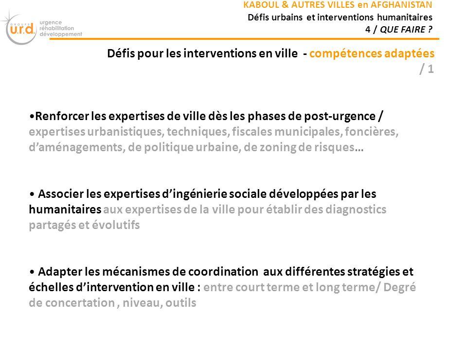 Défis pour les interventions en ville - compétences adaptées / 1