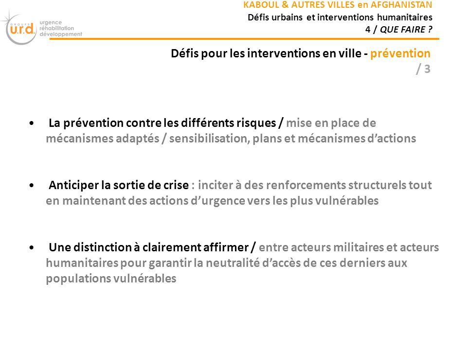 Défis pour les interventions en ville - prévention / 3