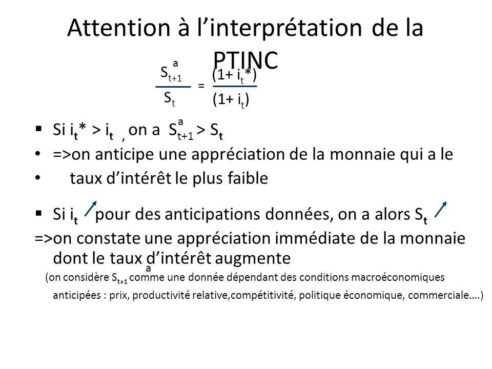 Attention à l'interprétation de la PTINC