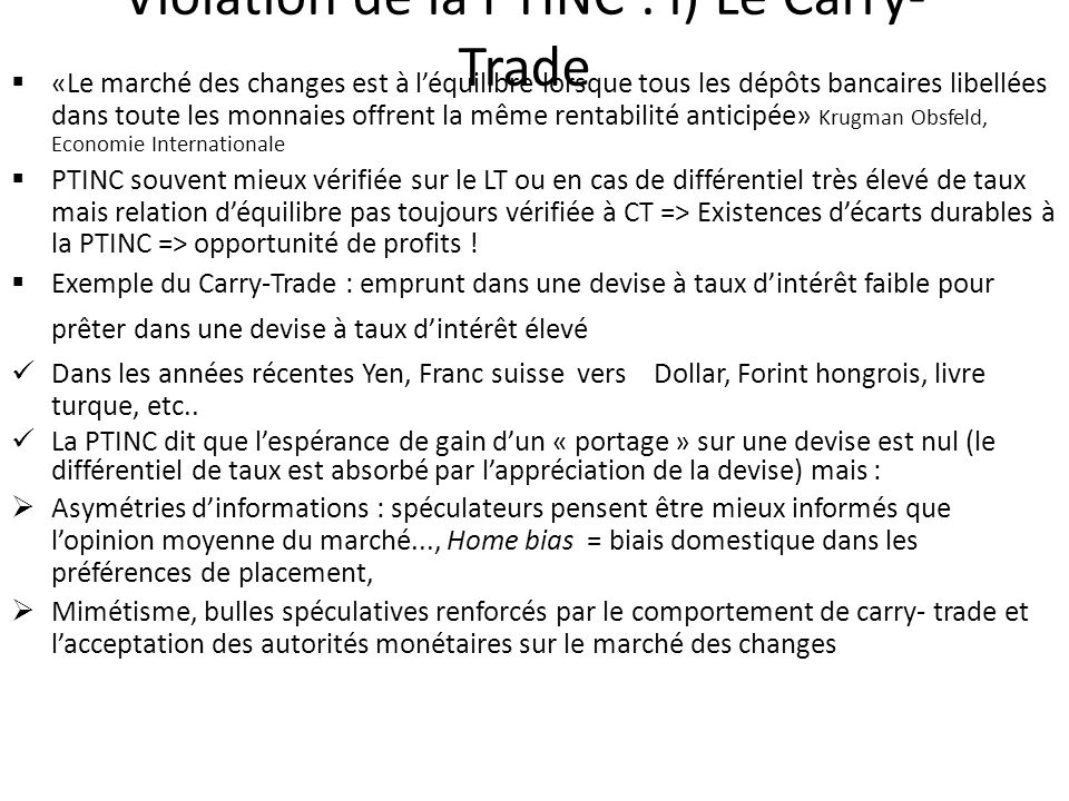 Violation de la PTINC : i) Le Carry-Trade