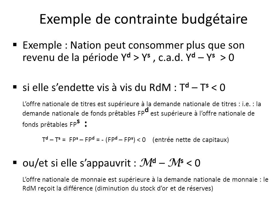 Exemple de contrainte budgétaire