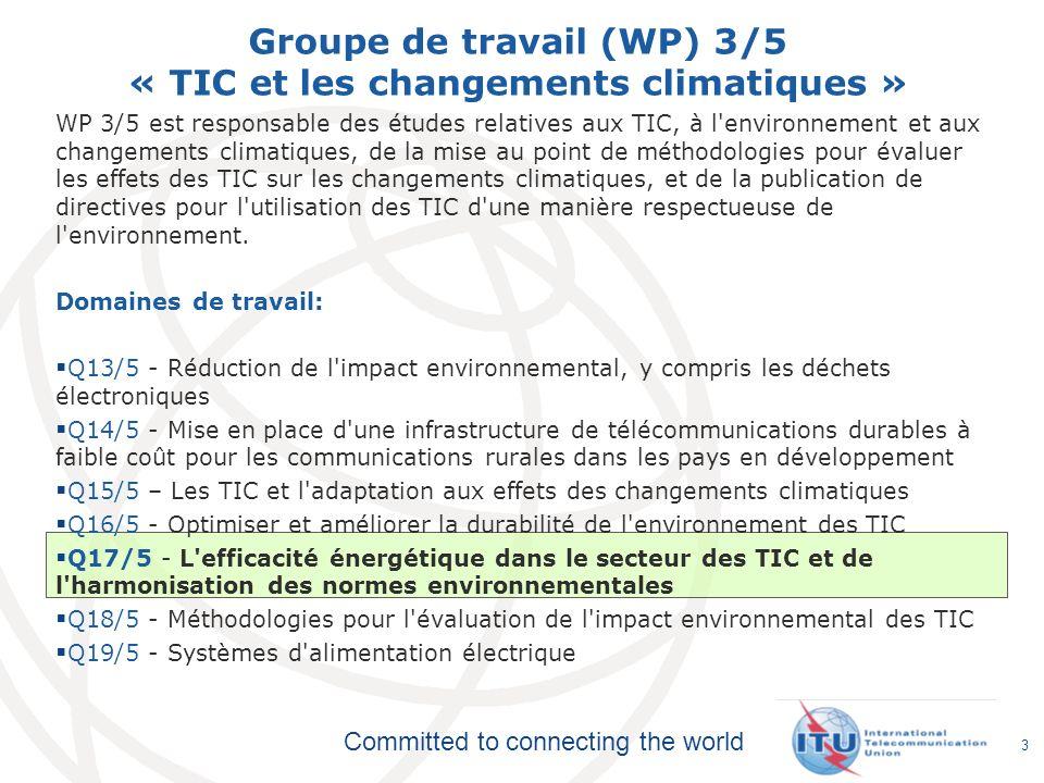 Groupe de travail (WP) 3/5 « TIC et les changements climatiques »