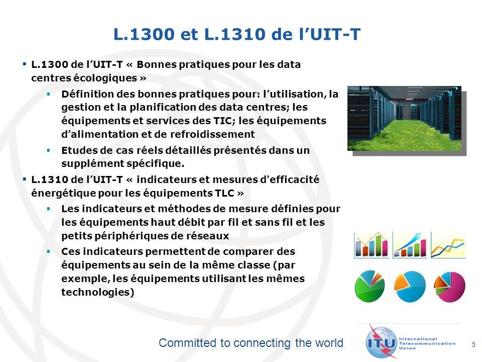 L.1300 et L.1310 de l'UIT-T L.1300 de l'UIT-T « Bonnes pratiques pour les data centres écologiques »