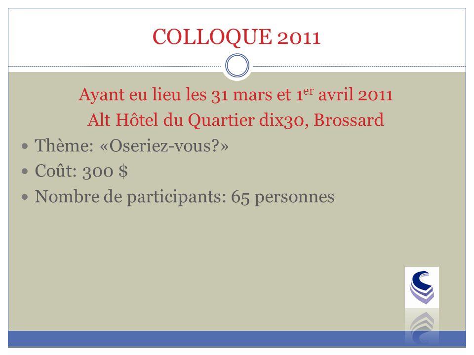 COLLOQUE 2011 Ayant eu lieu les 31 mars et 1er avril 2011