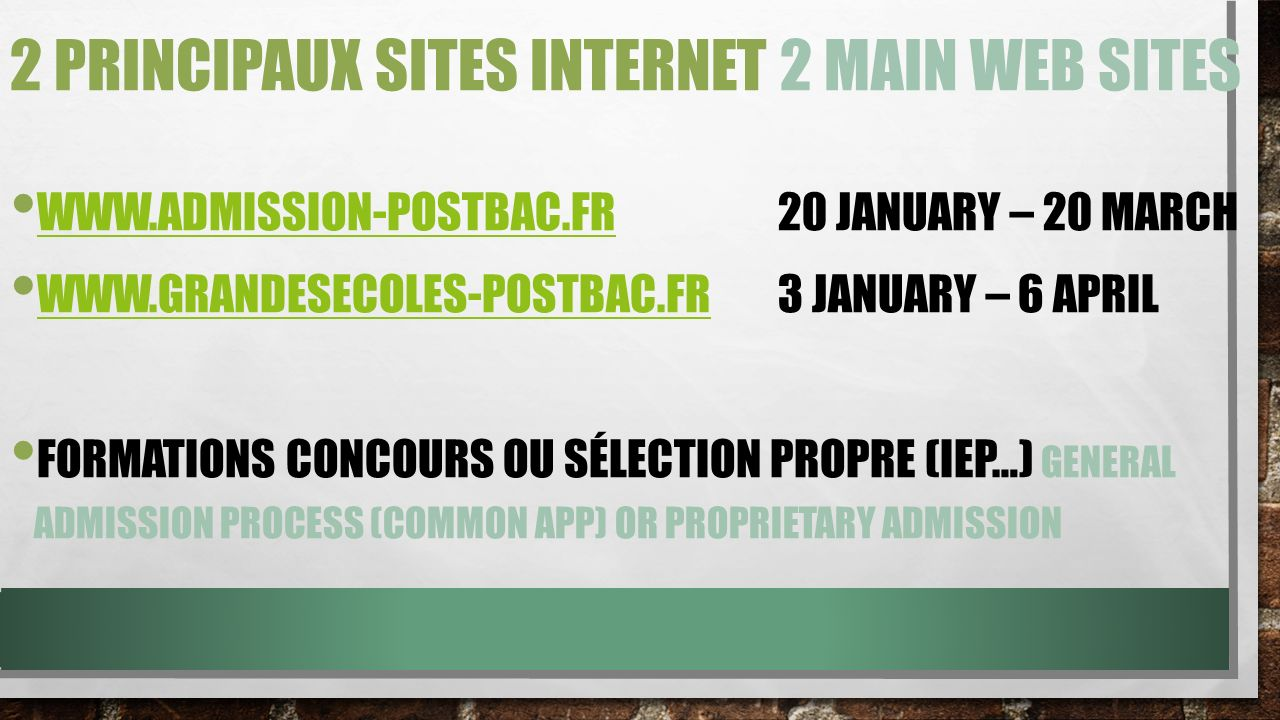 2 principaux sites internet 2 main web sites