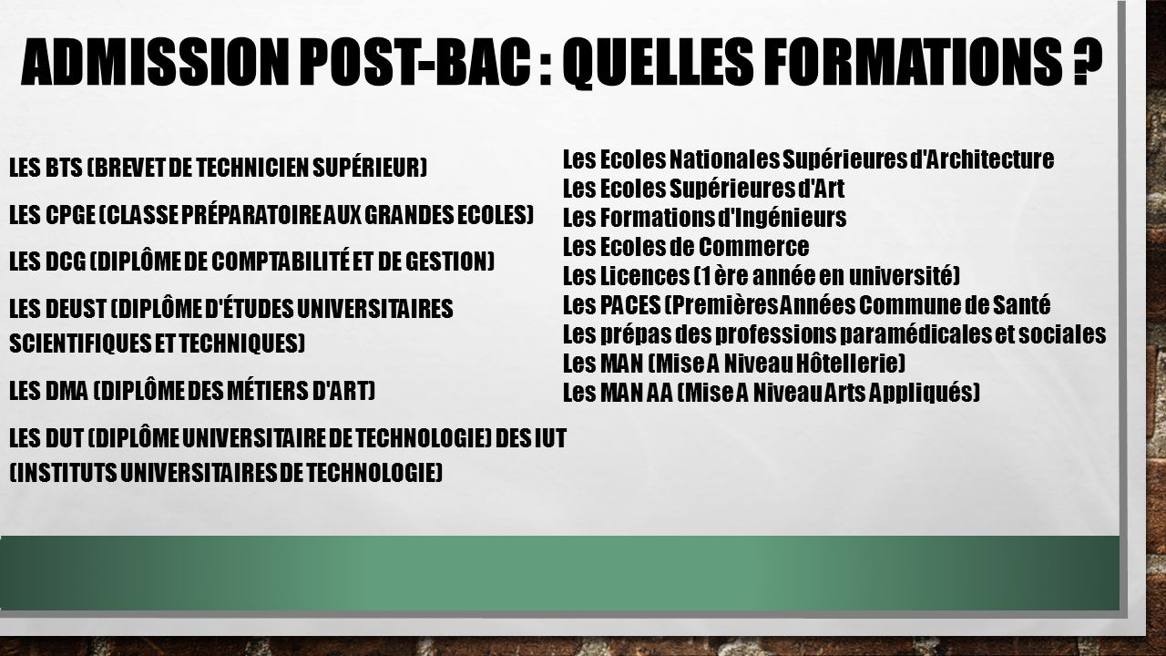 Admission Post-Bac : quelles formations