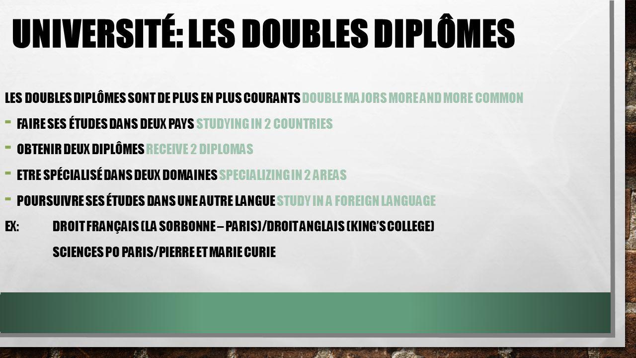 Université: les doubles diplômes