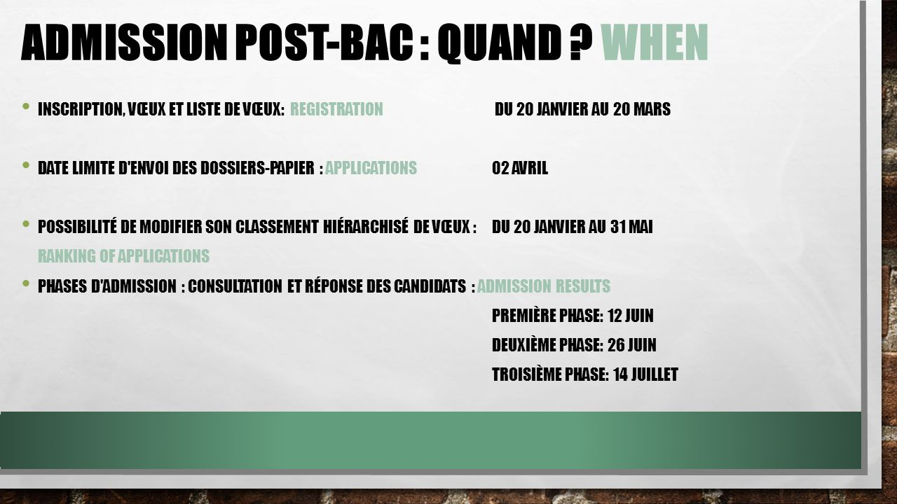 Admission Post-Bac : quand when
