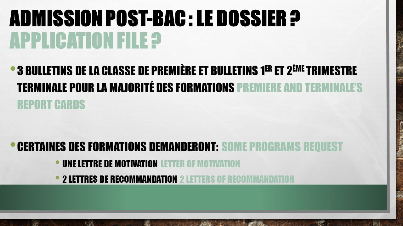 Admission Post-Bac : le dossier Application file