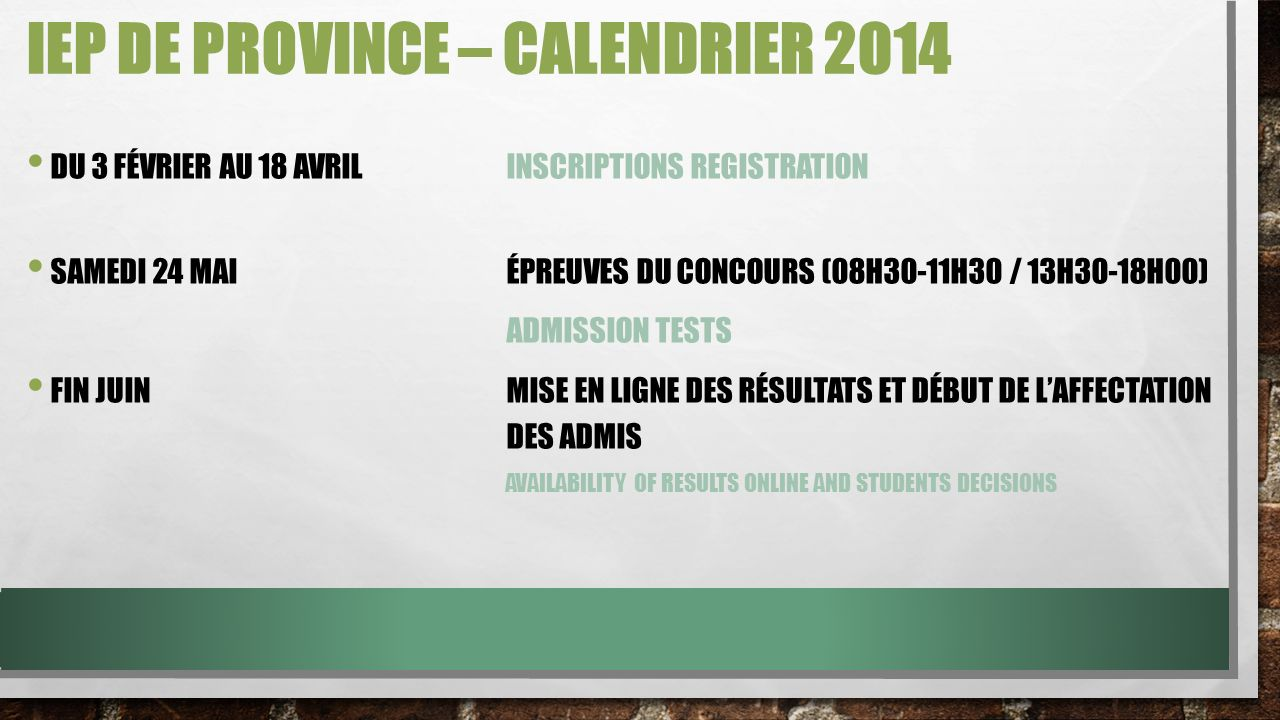 IEP de Province – Calendrier 2014