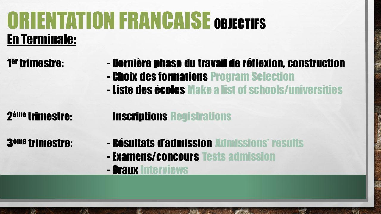ORIENTATION FRANCAISE objectifs