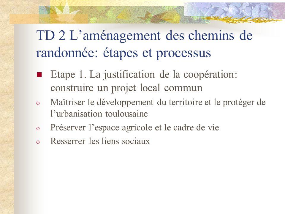 TD 2 L'aménagement des chemins de randonnée: étapes et processus