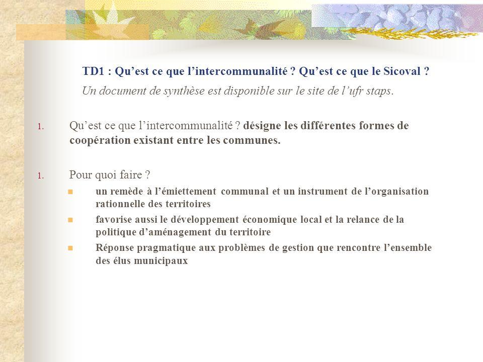 TD1 : Qu'est ce que l'intercommunalité Qu'est ce que le Sicoval