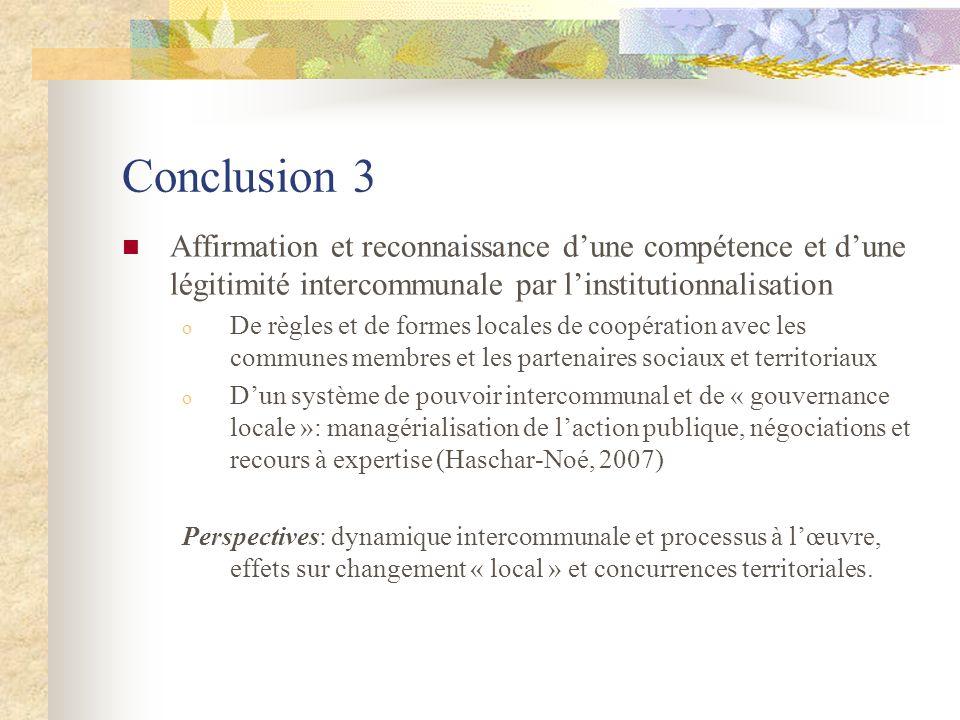 Conclusion 3 Affirmation et reconnaissance d'une compétence et d'une légitimité intercommunale par l'institutionnalisation.