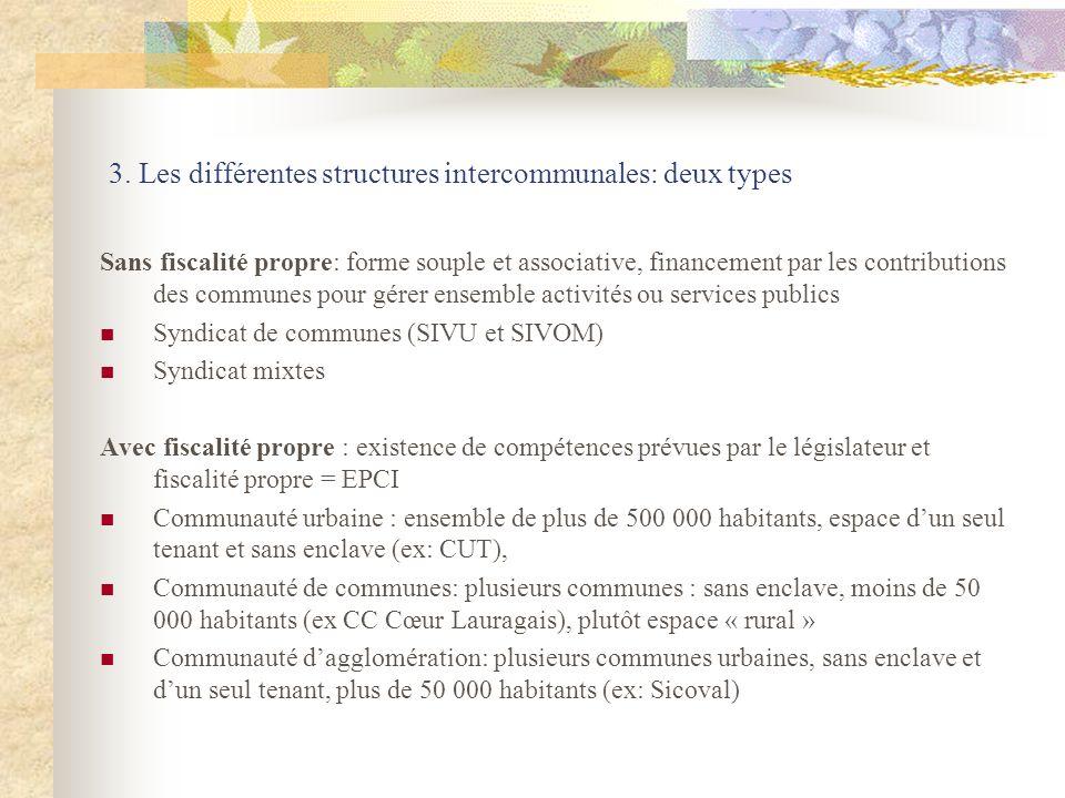 3. Les différentes structures intercommunales: deux types