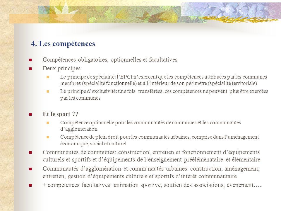 4. Les compétences Compétences obligatoires, optionnelles et facultatives. Deux principes.
