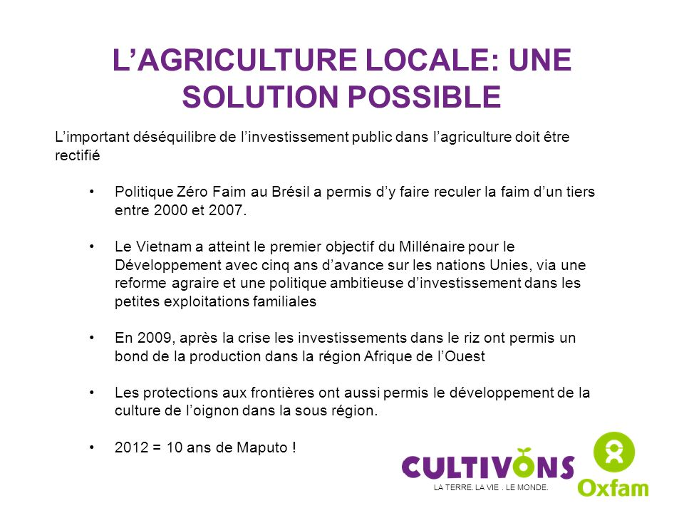 L'AGRICULTURE LOCALE: UNE SOLUTION POSSIBLE