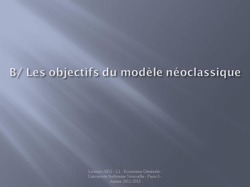 B/ Les objectifs du modèle néoclassique