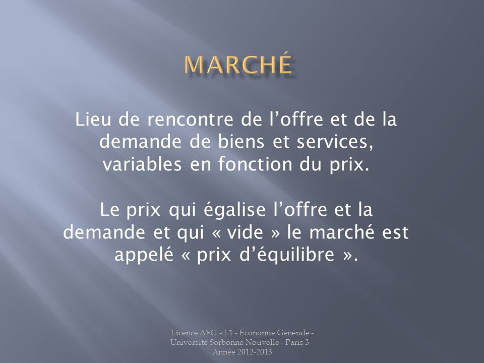 Marché Lieu de rencontre de l'offre et de la demande de biens et services, variables en fonction du prix.