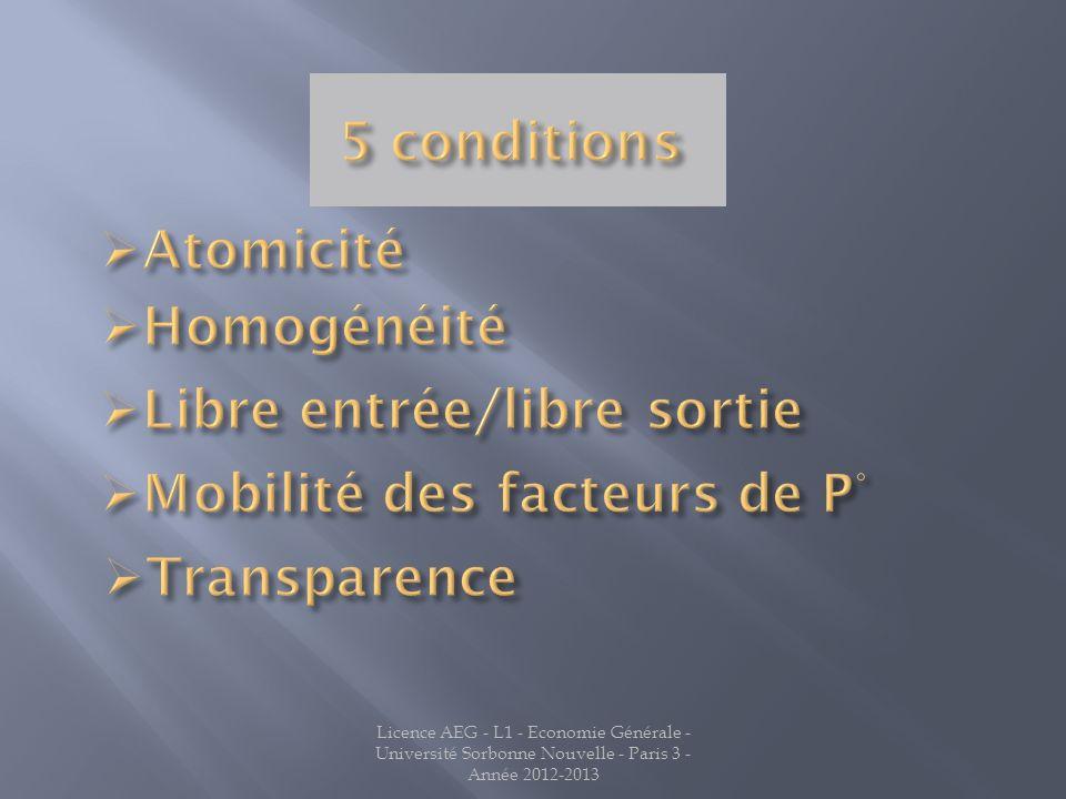 5 conditions Atomicité Homogénéité Libre entrée/libre sortie