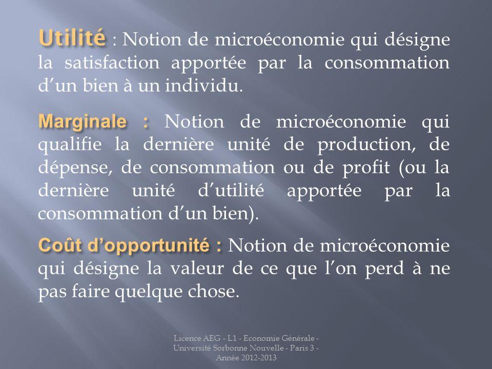 Utilité : Notion de microéconomie qui désigne la satisfaction apportée par la consommation d'un bien à un individu.