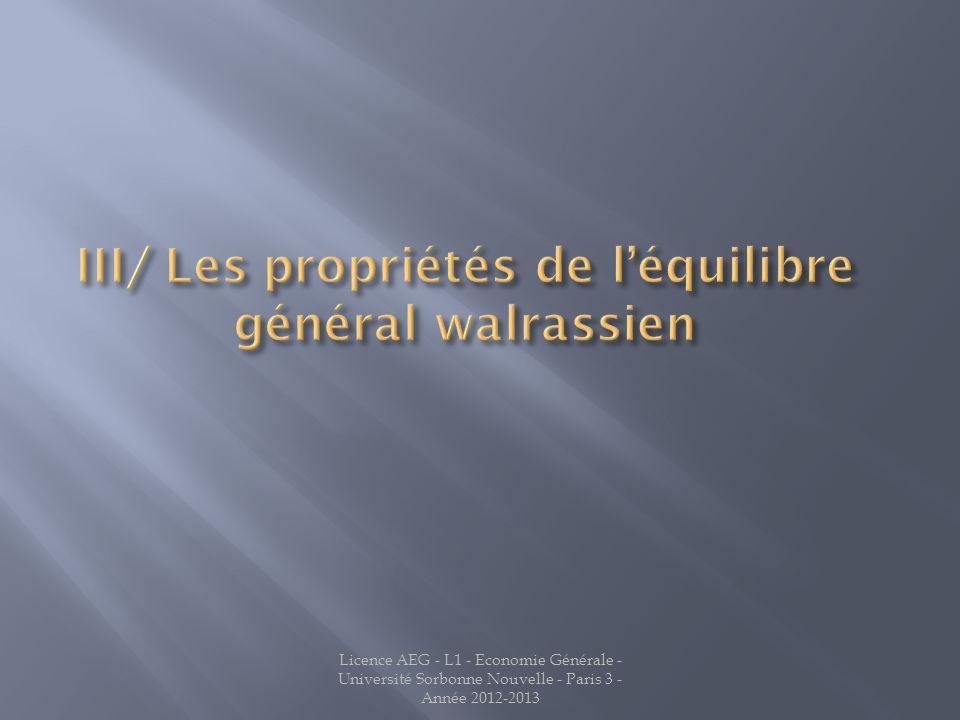 III/ Les propriétés de l'équilibre général walrassien